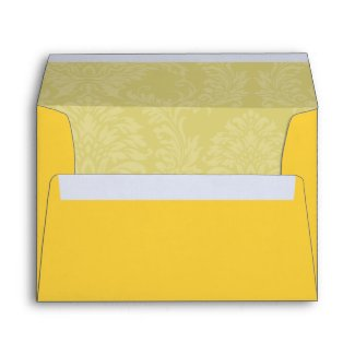 Chartreuse Yellow Damask Wedding Envelopes