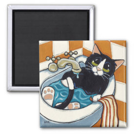 Cheeky Cat Bathing in Sink Illustration 2 Inch Square Magnet