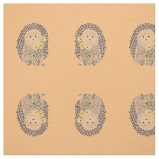Cheerful hedgehog orange fabric