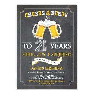Cheers And Beers 21st Birthday Invitation Card