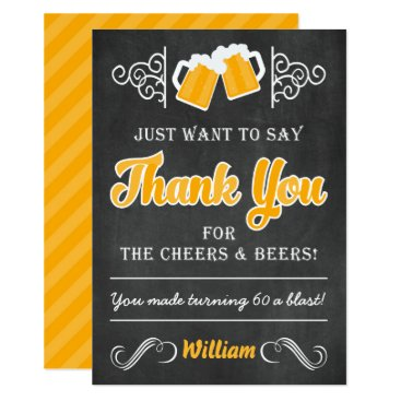 Cheers and Beers 60th Birthday Thank You Card
