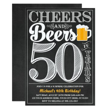 Cheers and Beers to 50 Years Birthday Invitation