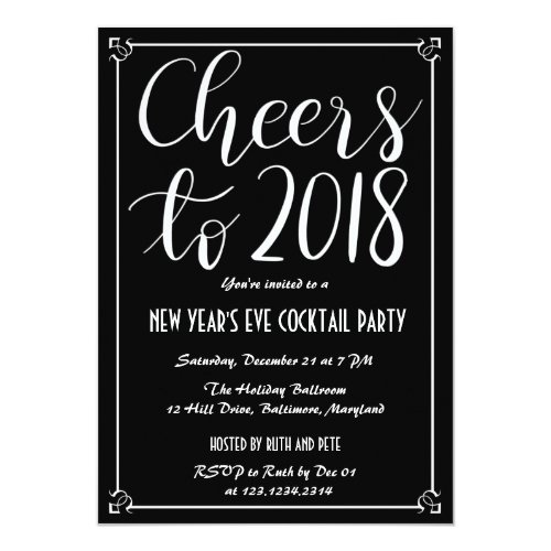 Cheers To 2018 | Elegant Black New Year Party Invitation