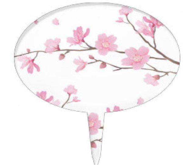Cherry Blossom Transparent Background Cake Topper