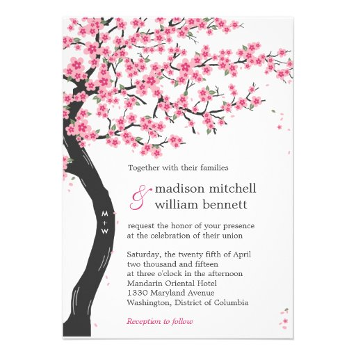 Personalized Cherry Blossoms Invitations