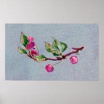 Cherry Branch on denim posters