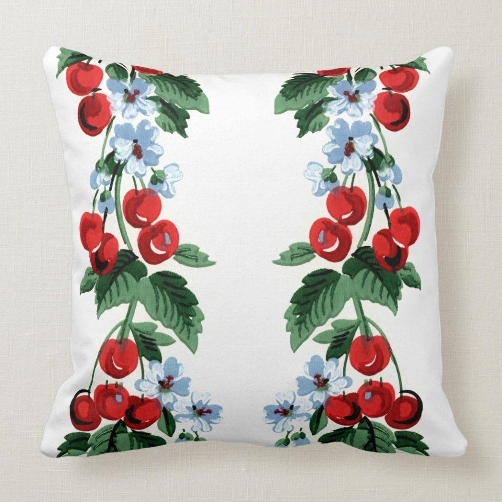 Cherry Jubilee - Vintage Cherries Design Throw Pillow