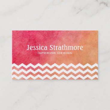 Chevron Orange and Pink Watercolor Business Cards
