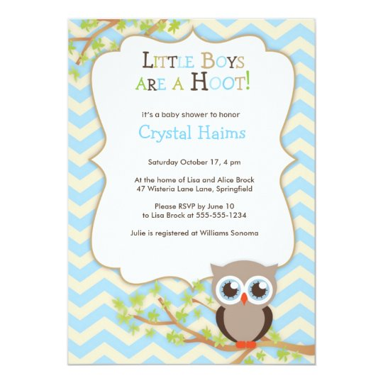 Chevron Owl Themed Baby Shower Invitations Boy