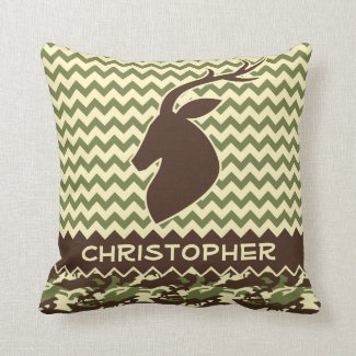 Chevron Pattern Buck Camouflage Monogram Throw Pillows