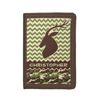 Chevron Pattern Buck Camouflage Monogram Tri-fold Wallets