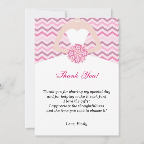 Chevron Pink Bridal Shower Thank You Card