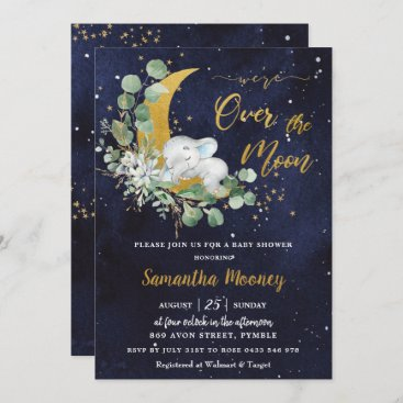 Chic Elephant We're Over the Moon Boy Baby Shower Invitation