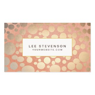 Chic Faux Gold Leaf Circles Pink Linen Look Business Cards
