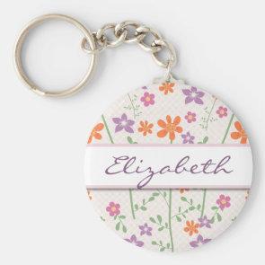 Chic Floral Pattern Design Monogram Key Chain