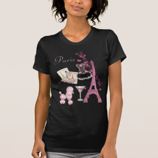Chic Girly Pink Paris Vintage Romance T-Shirt