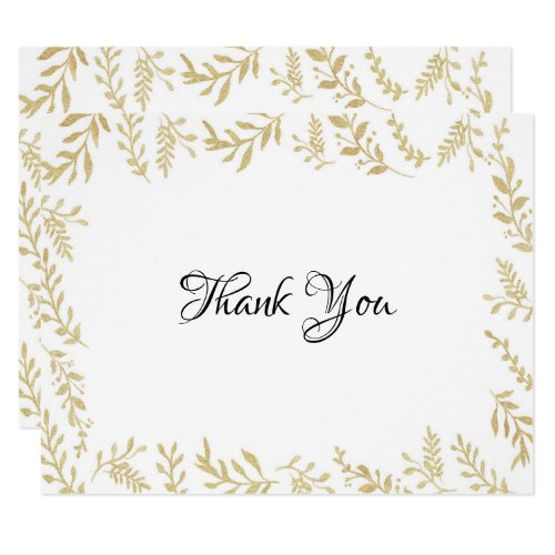 Chic Gold Foil Leaves Thank You Card