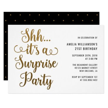 Chic Gold Shh... It's a Surprise Party Typography Invitation