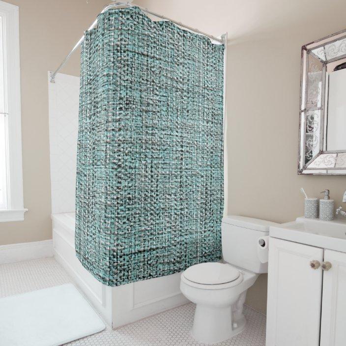 chic gray seafoam blue green boucle woven pattern shower curtain zazzle com