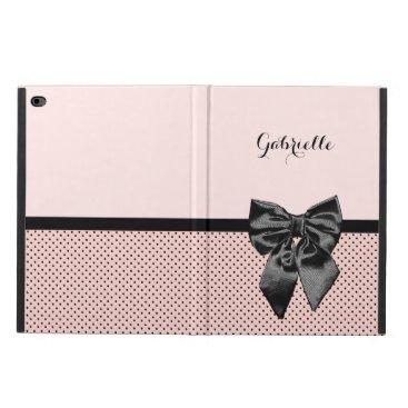 Chic Parisian Pink Polka Dots Black Bow and Name Powis iPad Air 2 Case