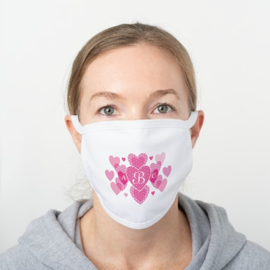 Chic Pink Heart Monogram Pattern White Cotton Face Mask