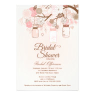 Chic pink mason jar floral bridal shower invite