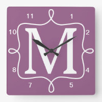 Chic Purple Monogram Square Wallclocks
