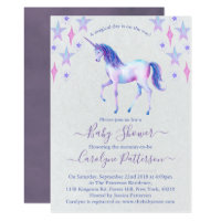 Chic Rainbow Watercolor Unicorn Baby Shower Card