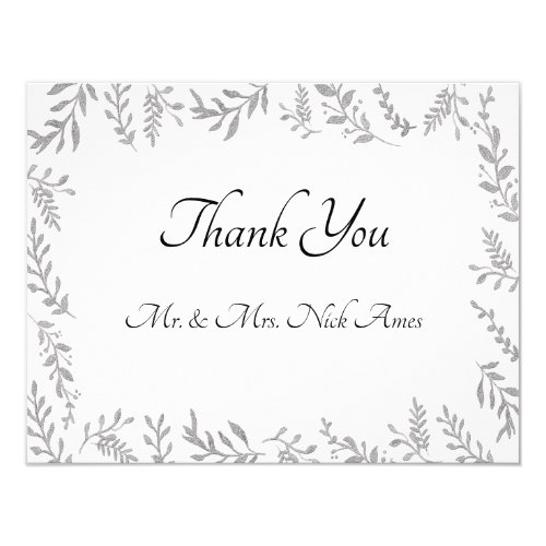 Chic Silver Foil Leaves Thank You Card