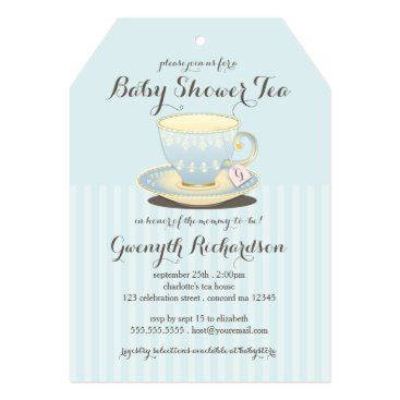 Chic Teacup in Blue Baby Shower Tea Party Invitation
