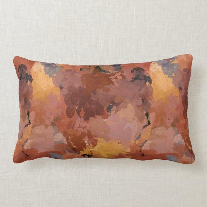 chic trendy terracotta rust brown abstract lumbar pillow zazzle com