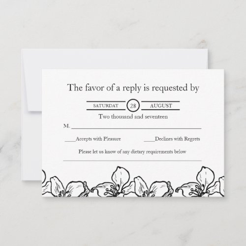 Chic Vintage Black and White Wedding RSVP