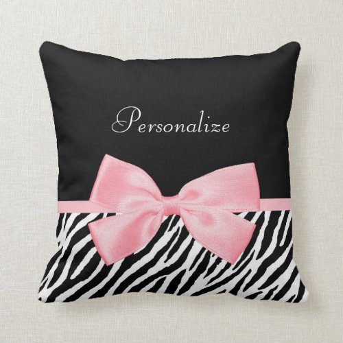 Chic Zebra Print Soft Girly Light Pink Ribbon Throw Pillow