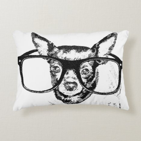 Chihuahua Dog Illustration Drawing Accent Pillow