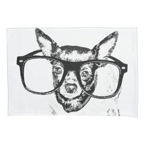 Chihuahua Dog Illustration Drawing Pillow Case