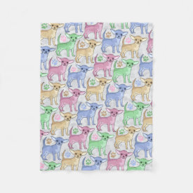 Chihuahua Lover Colorful Pattern Fleece Blanket