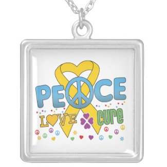 Childhood Cancer Groovy Peace Love Cure necklace