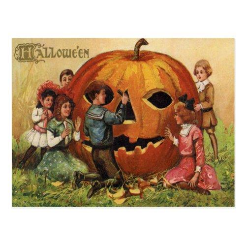 Children Carving Jack O Lantern Pumpkin Postcard