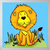 Children's art graphic lion animal poster
