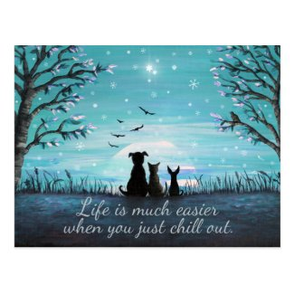 Chill Out Winter Sunset Postcard