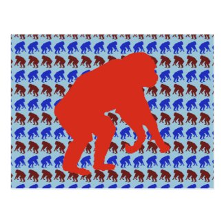 Chimpanzee Pattern Art Postcard