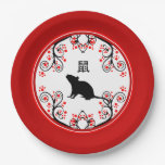 Chinese New Year Rat with Red Blossoms Paper Plate
