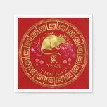 Chinese Zodiac Rat Red/Gold ID542 Napkin