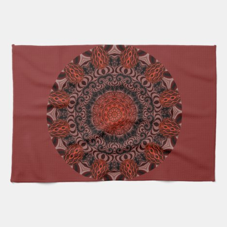 Chocolate and Strawberries Mandala, Abstract Kitchen Towel