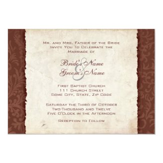 Chocolate Brown Country Wedding Invitation