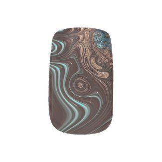 Chocolate Coffee Cream Fractal Minx Nail Art