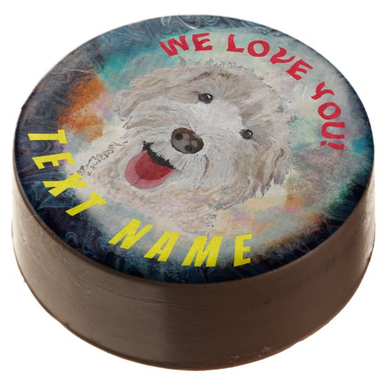 Chocolate Covered Oreo  Cute Labradoodle Dog &Text