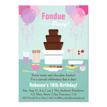 Chocolate Fondue Fountain Girls Birthday Party Card