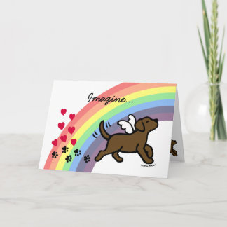 Chocolate Labrador Hearts Rainbow Bridge Card