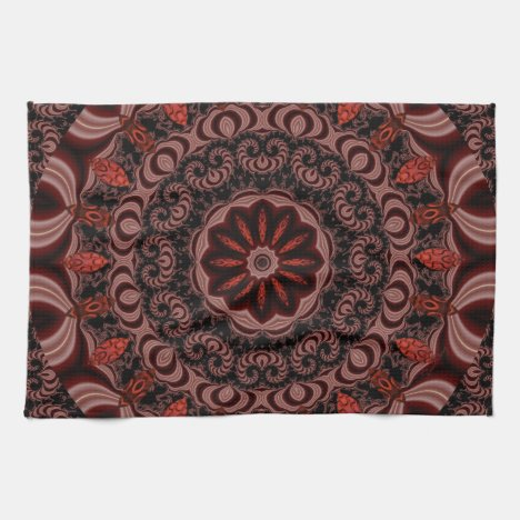 Chocolate, Raspberries, Peppermint Stick Abstract Kitchen Towel